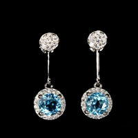 Round Swiss Blue Topaz 6mm Cz 14K White Gold Plate 925 Sterling Silver Earrings