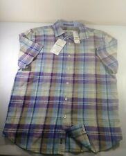 NWT TOMMY BAHAMA Mens Small LA PAZ PLAID SPARKLING GRAPE Linen Shirt Purple