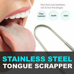 Stainless Steel Metal Tongue Scraper Cleaner For Bad Health Oral Breath U7H8
