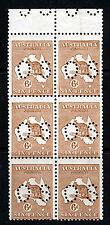 AUSTRALIA 1923-4 OFFICIALS 6d. 'Roos Die IIb PUNCTURED OS Narrow Crown W6 SG O76