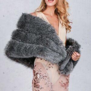 Women Winter Warm Faux Fur Cloak Coat Jacket Shawl Stole Wrap Poncho Shrug Wrap