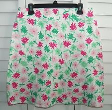 CHAUS WHITE PINK GREEN FLORAL A LINE KNEE LENGTH SKIRT SIZE 12