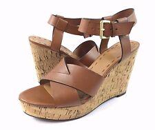 Tahari Stevie Womens 8.5M Brown Leather Strappy Cork Platform Wedge Sandals