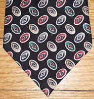 Rivercrest Tie Silk Oval Geometric Design Black Green Tan Red Blue NIB t2115