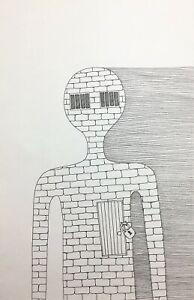 "Original ink drawing on paper Surreal "" Heart lock"" 11.8x7.8""  Black"