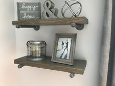 "8"" Deep (set of 2) Industrial Floating Shelves, Farmhouse, Rustic Shelves"