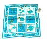 New Oscar de la Renta Turquoise Floral 100% Luxurious Satin Silk Scarf Vtg