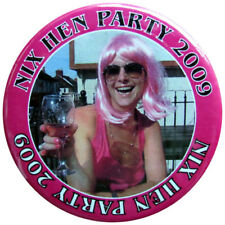 Large 75mm Hen Badge. Personalised photo & text badges ideal for party outfits