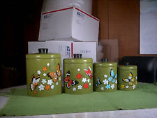 Vintage 4pc Nesting Canister Set Ransburg Metal Green w/Colored Butterflies