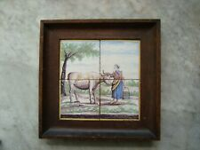 rare delft handpainted tile panel cow,and milkmaid, around 1800, dutch