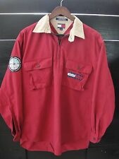 VTG Tommy Hilfiger Mens Sz M Zipper Pullover Red Expedition Outfitters Outdoors