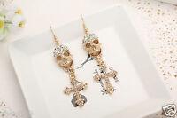 Woman Elegant clear crystal Rhinestone long Ear Studs hoop Gold plated earrings