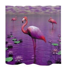 Water Resistant Curtain Polyester Bath Shower Drapes + Hook Flamingo Pattern