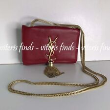 Authentic YSL Yves Saint Laurent Small Red Leather Shoulder Crossbody Bag