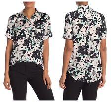 Equipment Womens Short Sleeve Slim Signature Floral Print Button Blouse S $230