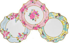 12 Luxury Vintage Style Afternoon Tea Medium paper Plates Shabby Chic 3 designs