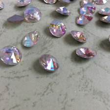 16mm Rivoli Crystal AB Rhinestones Glass Chaton Strass Nail Art 6ps U1