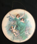 """Antique Stove Flue Cover Victorian Lady On Swing, Cherubs, Doves, Swallows 9.5"""""""