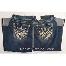 Women LA Idol Jeans Plus Size Bling Rhinestone Capri Dark Blue Size 15
