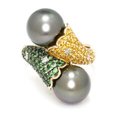 Black Tahitian Pearl Bypass Ring with Gemstones 14K Gold 11.40mm