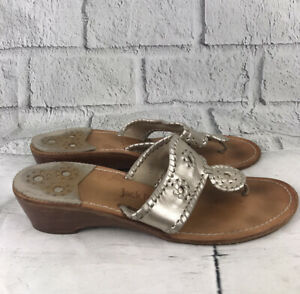 Jack Rogers Size 10W Silver Sandals Summer Heel Thong