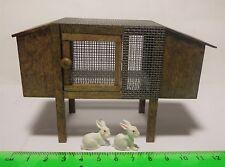 Aparador De Madera De 1:12 y 2 conejos de cerámica Casa de Muñecas en Miniatura Jardín Accesorio De Mascotas