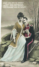 Soldier & Pretty Girl Lovers Romance Hand Colored Polish Art Postcard