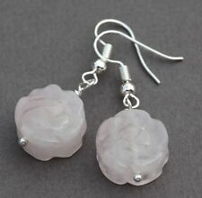 ROSE QUARTZ CARVED FLOWER DROP EARRINGS ~ SILVER PLATED