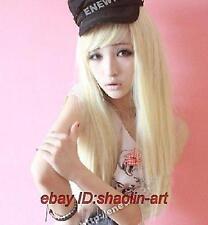 Haute qualité! blonde longue raide santé anime cosplay Costume cheveux perruques