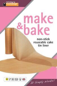 "Non Stick Reuseable Baking 8"" Cake Tin Liner 1 Round & 1 Wall Liner Make & Bake"