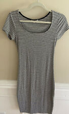 Gray And White Stripe Sports Style Casual Short Sleeve Dress Size Medium