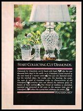 1984 Waterford Diamonds Crystal Lamp Vase Georgian Glass Vintage Photo PRINT AD