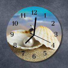 Glass Wall Clock Kitchen Clocks 30 cm round silent Shells Pearl Multi-Coloured