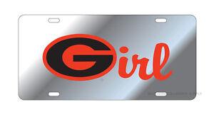 "UGA Bulldogs Silver-Georgia Red ""G Girl"" License Plate / Car Tag"