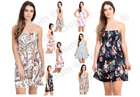 Womens Floral Sheering Top Ladies Swing Bandeau Boobtube Ruched Flared Plus Size