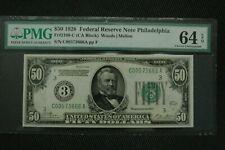 """1928 $50 Fr 2100-C PMG 64 EPQ Ch Unc Philadelphia """"Numerical"""" with Gold Clause"""
