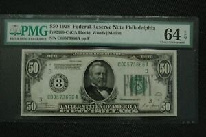 "1928 $50 Fr 2100-C PMG 64 EPQ Ch Unc Philadelphia ""Numerical"" with Gold Clause"