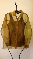 Ann Taylor Sheer Olive Button Down Dress Shirt Size Medium