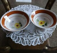 2 Vintage yellow flower Cereal Soup Salad Rice Bowls Made In Korea 7""