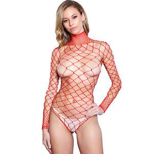 Wide Fence Net Bodysuit Long Sleeves Fishnet Collar Thong Open Back Teddy 1909
