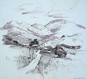 "REX BRANDT Signed 1971 Original California Watercolor - ""Bernardo Winery"""