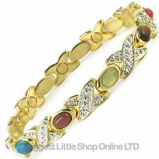 NEW Ladies Magnetic Bracelet with Pretty Faux Gemstones Health FREE GIFT BOX