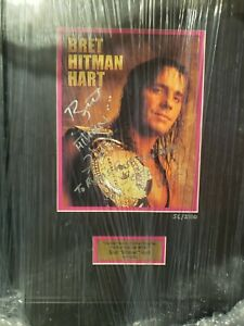 Bret Hitman Hart Signed Plaque Autographed COA 56/2500 WWF WWE RARE Customized