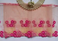 """7.5"""" Petal Peach / Shocking Pink Embroidered Flowers Lace Trim-1 Yard-T451"""
