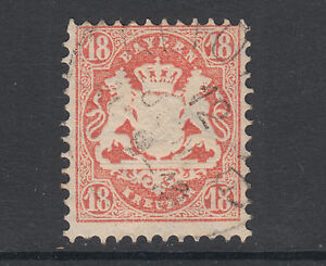 Bavaria Sc 30a used 1870 18kr dull brick red Coat of Arms, sound & Fine+