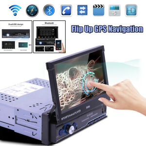 "7"" 1DIN HD Andriod 8.1 Flip Up GPS Navigation DSP Car Stereo MP5 Player Radio"