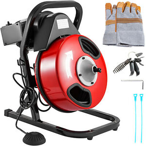 50ft x 1/2in Sewer Snake Drain Auger Cleaner Electric Drain Cleaning Machine