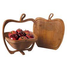 Apple Basket Folding Renewable Bamboo Brown -   Fruit Display Kitchen Decor Gift