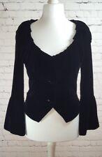 Per Una Black Silk Blend Velvet Jacket - Flared Cuffs & Frilled Collar UK 8