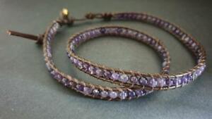 Amethyst  Brown Leather Wrap Bracelet Anklet , Leather Bracelet, Beaded